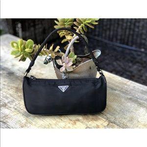 Auth Prada Nylon Vela Black Baguette Small Bag